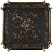new london chinoiserie lamp table with black and gold chinoiserie