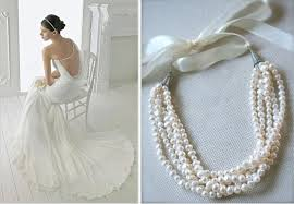 pearl necklace with ribbon images Freshwater pearl bridal necklace boho strand necklace jewelry jpg