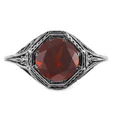 art deco style garnet ring in 14k white gold