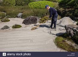 Zen Garden Rocks Meigetsuin Japanese Gardener The Karesansui Zen Garden Of Raked