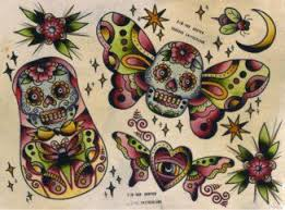 sailor jerry skull butterfly