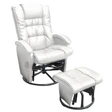 dezmo push back bonded leather recliner glider rocker with swivel