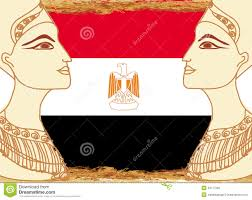 Image Of Flag Of Egypt Egyptian Queen Cleopatra On The Background Of The Flag Of Egypt