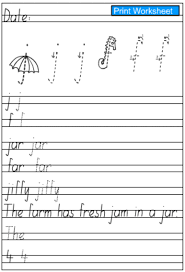letters j and f handwriting practice sheet english skills online
