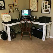bureau personnalisé reclaimed wood l shape desk base de teint la chaux et lumière