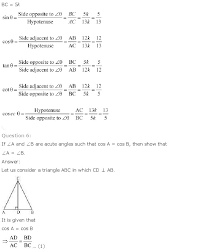 best ideas of introduction to trigonometry class 10 worksheets on