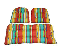 Settee Cushion Set by 3 Piece Wicker Cushion Set Yellow Green Blue Coral Bright