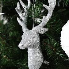 set of 3 silver glitter hanging stag tree baubles