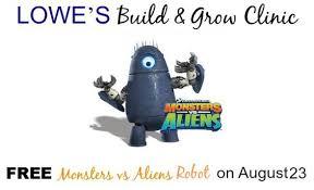 free monsters aliens robot lowe u0027s build u0026 grow clinic