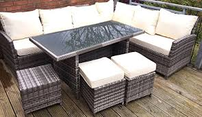 Rattan Table L Mmt Rattan Garden Furniture L Shaped Dining Corner Set 8 Seater