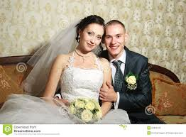 young couple married in the wedding room stock photography image