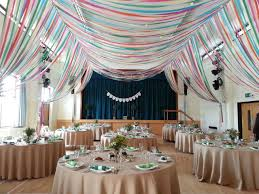 colourful ribbon canopy wedding reception town village hall