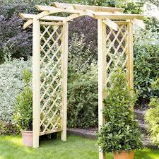 genoa arch diagonal latticework trellis curved top garden archway