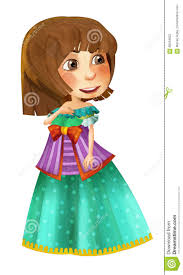 cartoon medieval character beautiful princess standing