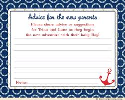 baby shower advice cards sailboat ahoy baby shower advice cards suggestions for new parents