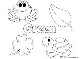 The Color Green Coloring Page Green Coloring Page