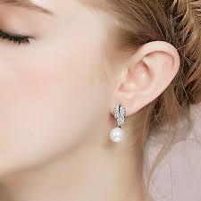 bridesmaid pearl earrings leaf rhinestone silver pearl wedding earrings ewaer033 as