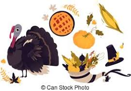 vector illustration of set of traditional thanksgiving symbols