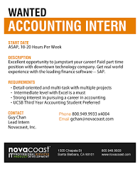 Accounting Cover Letter Internship by Novocoast U2013 Wanted Accounting Intern Santa Barbara U2013 Career