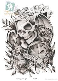 clock and skull tattoo design tattoo designs tattoo pictures