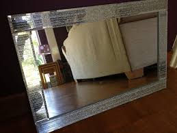 glitter silver mirror frame glass living room lounge bedroom wall
