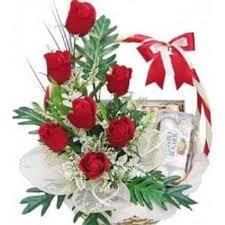 online flowers dubai sweet basket flower delivery 6 roses white
