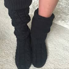 ugg womens knit boots back ugg womens the knee twisted cable knit boots black