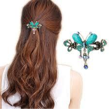 barrettes hair aliexpress buy women turquoise butterfly flower