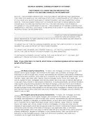 Power Of Attorney Wording General by Free Georgia Power Of Attorney Forms Adobe Pdf Word