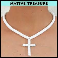 men shell necklace images Puka cross white puka shell necklace choker 20 quot men women boys jpg