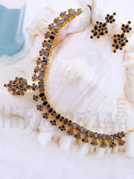 necklace with black stones images Necklace jewellery set with antique black stones indian bridal jpg