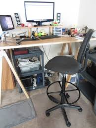 High Desk Chair Design Ideas Industrial Black Polished Iron Sit Stand Stool With Stools For