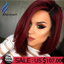 alicrown red human hair ombre full lace wigs with baby hair short