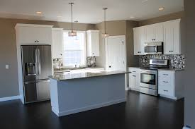 Kitchen Cabinets Contemporary Kitchen Style Grey Granite Countertop Also Chandelier In Kitchen