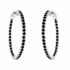 inside out diamond hoop earrings 1 25 inch inside out black diamond hoop earrings 3 00 carat 14k