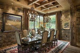 dining room rustic dining room with gorgeous stone walls and