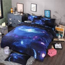 Galaxy Bed Set 4 3pcs Bedding Set Universe Outer Space Blue Galaxy Bed Linen