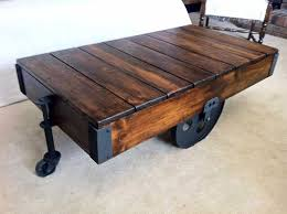 Vintage Coffee Table With Wheels Antique Cart Coffee Table