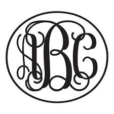 monogram stickers monogram sticker with vine font and circle outline