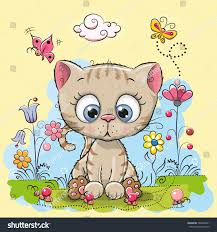 cute cartoon kitten flowers butterflies on stock vector 535046401