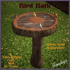 second life marketplace sandry u0027s log bird bath boxed