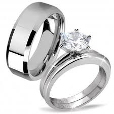 stainless steel wedding ring sets his hers classic 3 pcs men s tungsten band women s cut