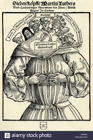 the seven heads of martin luther german caricature by hans stock