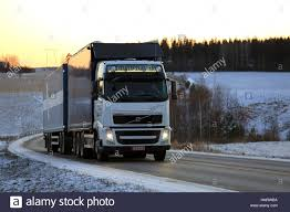 volvo trucks canada a transport truck hauls goods along the trans canada highway in