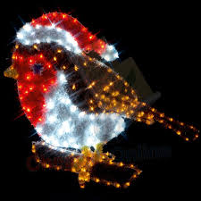 80cm outdoor robin rope light silhouette decoration