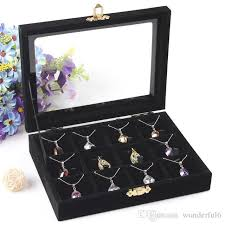 necklace case images High quality jewelry storage box necklace pendants case ring jpg