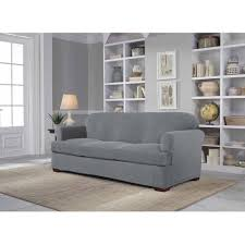 sure fit denim sofa slipcover sofas sure fit stretch suede piece t cushion sofa slipcover scroll