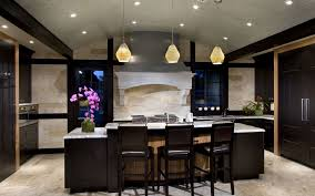 trendy small modern kitchen with elegat black island under