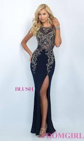 blush floor length beaded prom dress promgirl