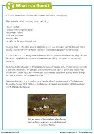 this year 6 geography worksheet is a fact sheet about floods